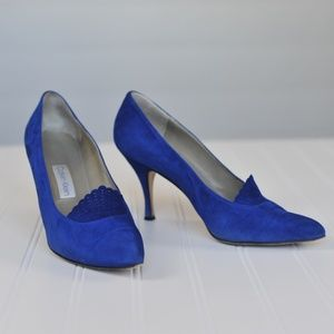 Calvin Klein Made In Italy Blue Suede Heels Size 8